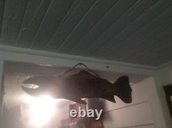 Antique Salmon Fish Decoy OLD Folk Art Primitive Maine Bait ShopSIGNSwimmer A1