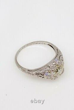 Antique Signed $10,000 1.50ct VS K Old Euro Diamond Platinum Filigree Ring