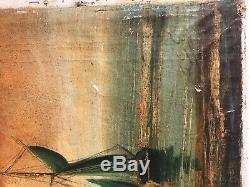Antique Signed Dutch Old Master Painting Ships In Harbor Nyc Vault Find