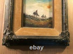 Antique Signed Illustration Art Painting Men on Horses Old Heavy Frame