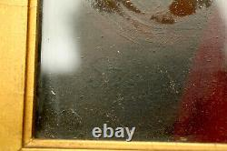 Antique Signed Oil Painting Gold Frame Portrait On Wood Board Old