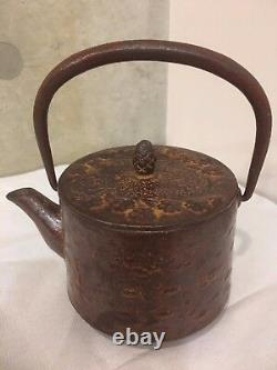 Antique-Signed-Vintage-Old-Japanese-Cast-Iron-Tetsubin-Teapot-Tea-Kettle