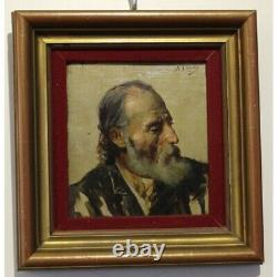 Antique Spain 19th Original Portrait Old Man Oil Wood Painting signed A. DYAS