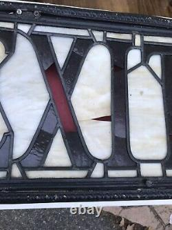 Antique Stained Glass Exit Sign From Old Theater Building c1930