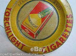 Antique Torchlight Cigarettes Advertising Tip Tray old tin litho sign unusual