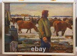 Antique Vintage 1906 Rare Original Carton Old Oil painting Landscape cows
