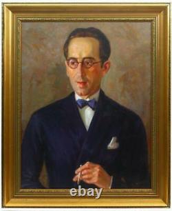 Antique Vintage 1937 Rare Original Canvas Old Oil painting Portrait elegant man