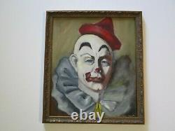 Antique Vintage Clown Face Head Circus Painting MID Century Signed Portrait Old