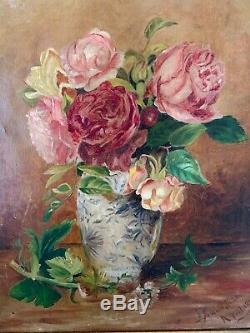 Antique Vintage Old Rose GOLD FRAMED PINK CANVAS Oil Painting Shabby 1888 SIGNED