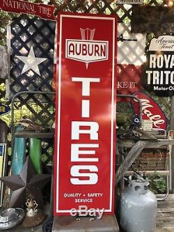 Antique Vintage Old Style Auburn Tires Sign 60x18