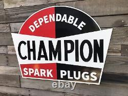 Antique Vintage Old Style Champion Spark Plugs Sign