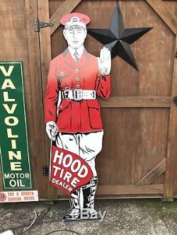 Antique Vintage Old Style Hood Tires Sign Towering 71