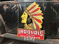 Antique Vintage Old Style Iroquois Chief Auto Insurance Gas Oil Sign