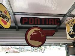 Antique Vintage Old Style Pontiac 2 Piece Sign