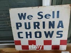 Antique Vintage Old Style Purina Chows Sign 26x21.5 we sell chows