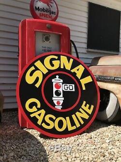 Antique Vintage Old Style Signal Gasoline Service Station Sign 40