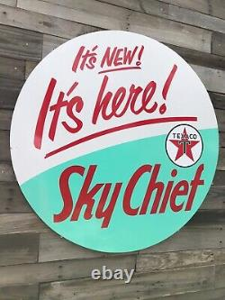 Antique Vintage Old Style Texaco Sky Chief Gas Oil Sign 40