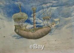 Antique Vintage Painting Study Nude Woman Boat Ship Iconic Mystery Signed Old