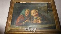 Antique Vintage Signed Oil On Canvas BIZZARE Painting Signed Old Man Woman