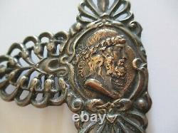 Antique Vintage Victorian Old Signed Sterling Silver 14k Gold Belt Buckle Homer