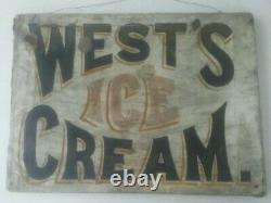 Antique West's Ice Cream Sign Canvas Early Painted On Canvas Old Vintage Rare