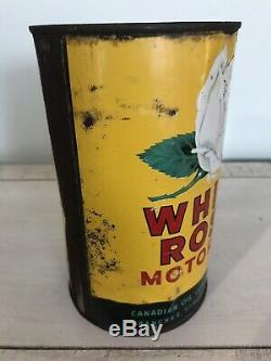 Antique White Rose Imperial Quart Motor Oil Tin Can Vintage Gas Sign Old Cans