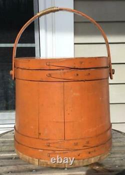 Antique Wilder P Clark Old Pumpkin Orange Wooden Firkin Sugar Bucket Handle Lid
