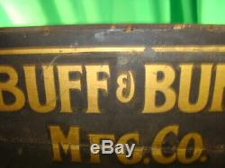 Antique Wood Advertising Sign Buff & Buff Engineering Surveying Instruments OLD