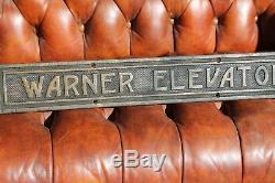 Antique brass or bronze WARNER ELEVATOR Builders Plate Plaque Sign 50 Hotel Old
