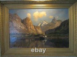 Antique large landscape painting old master dutch von ditten 1890 man cave gem
