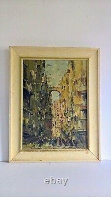 Antique old vintage European 19th original signed oil canvas painting cityscape