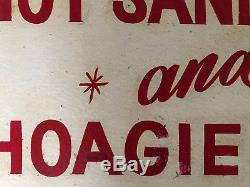 Antique old wood sign original hand painted red lettering Sandwiches and hoagies