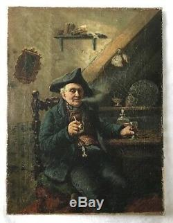 Antique painting Old man in tricorn hat with pipe and vine Signed AH775