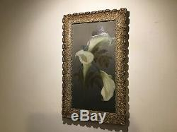 Antique vintage very old gilt framed painting on tin of orchids