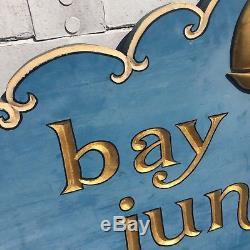 BAY HEAD JUNCTION NJ Shore VINTAGE HAND CARVED SIGN Gold leaf. 30 years old