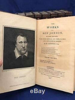 BEN JONSON Complete Works RIVIERE SIGNED BINDINGS Leather Set ANTIQUE BOOKS Old