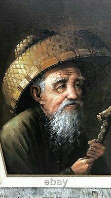 Beautiful Vintage Framed Oil Painting of Chinese Old Man
