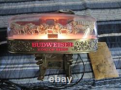 Budweiser Beer Sign Gold Antique Art Decco Back Bar Old Vtg Light Pub Man Cave