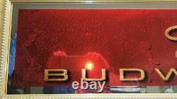 Budweiser Beer Sign Gold Antique Frame Art Decco Mirror Old Vtg Pub Bar Man Cave
