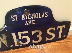 C1916 Vintage HARLEM NYC NY History Antique Porcelain Humpback Old Street Sign