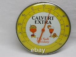 Calvert Extra Whiskey Advertising Thermometer Sign Vtg Old Antique
