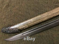 Collectable Chinese Old Qing DaoSword Signed Sharp Blade Brass Sheath