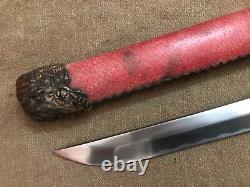 Collectable Japanese Samurai Old Sword Fishskin SAYA Signed Tang Sharp blade