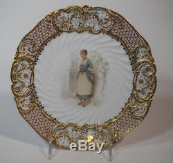 Copeland Jeweled Old Songs Cabinet Plate Artist Signed