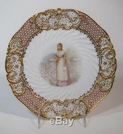 Copeland Jeweled Old Songs Cabinet Plate Artist Signed Samuel Alcock