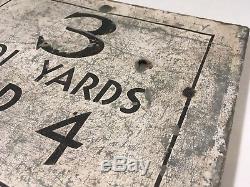 Early Original Golf Club Yardage Hole Sign Tin On Wood Frame Very Old Folk Art