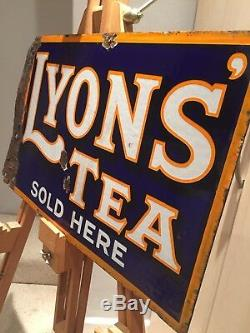 Enamel Sign Lyons Tea Antique Advertising Original Old Rare Collectable Vintage