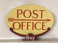 Enamel Sign Post Office Antique Rare Old Advertising Sign Collectable