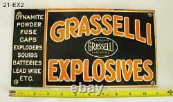 Explosives Sign Rare Grasselli Explosives Antique Old Steel Porcelain Mining