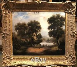 FINE ORIGINAL ANTIQUE 18thCENTURY BRITISH OLD MASTER OIL PAINTING ROMANTIC SCENE